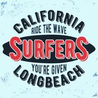 Sello vintage de surfistas de california