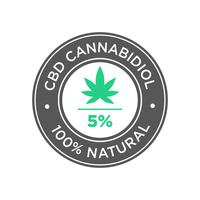 5 percent CBD Cannabidiol Oil icon. 100 percent Natural. vector