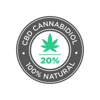 20 percent CBD Cannabidiol Oil icon. 100 percent  Natural. vector