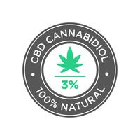 3 percent CBD Cannabidiol Oil icon. 100 percent Natural. vector