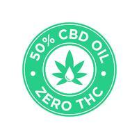 Ícone de 50 por cento de óleo CBD. Zero THC