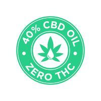 Ícone de 40 por cento de óleo CBD. Zero THC