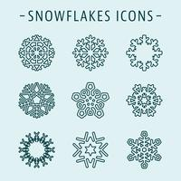 Set snowflakes icons vector