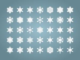 Conjunto isolado de flocos de neve