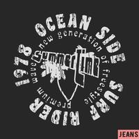 Sello vintage de surf