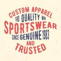 Sello vintage de ropa deportiva vector