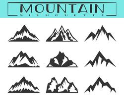 Mountain silhouette set