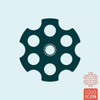 Icono de cilindro de revólver vector