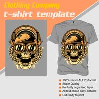 T-shirt template, fully editable with skull helmet vector
