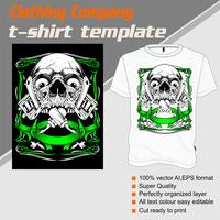 T-shirt template, fully editable with skull tattoo machine vector