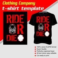 T-shirt template, fully editable with text ride or die vector