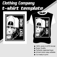 T-shirt sjabloon, volledig bewerkbaar met aap vector