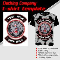 T-shirt template, fully editable with wolf vector