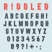 Riddled alphabet font. Letters, numbers, and punctuation mark grunge design