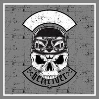 grunge style skull wearing retro helmet-vector