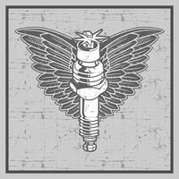 vintage grunge style spark plug with wing-vector