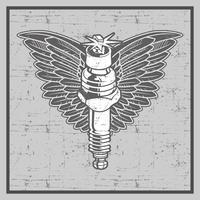 Vintage Grunge-Stil Zündkerze mit Flügel-Vektor