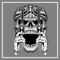 crânio vintage vestindo capacete retrô segurando a arma -vector