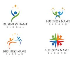 logotipo de cuidados familiares amor e modelo de símbolos vetor