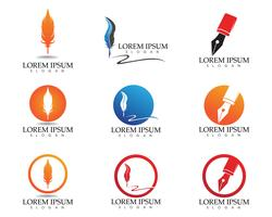 Feather pen write sign logo template app icons