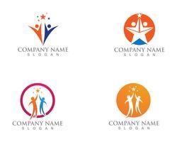 Star people Logo Success Template vector icon illustration design