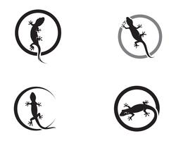 Lizard Chameleon Gecko Silhouette negro vector 10