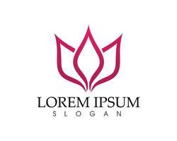 Signo de flor de loto para bienestar, spa y yoga. Ilustración vectorial