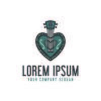 love guitar logo. hand drawn design concept template