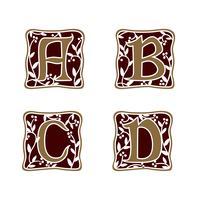 decorazione Lettera A, B, C, D modello di logo design concept