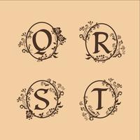 decoration Letter S, T, R, Q logo design concept template