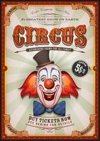 Weinlese-Zirkus-Plakat mit Clown Head