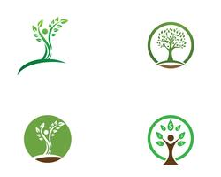Tree green people identity vector logo template