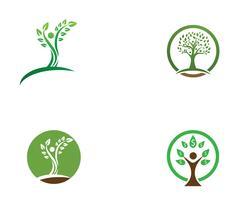 Modèle de logo vectoriel arbre personnes identité verte