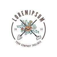 gardening logo vintage design concept template