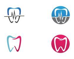 Ícones de modelo de logotipo e símbolos de cuidados dentários vetor