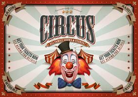 Vintage Circus Poster With Clown Head
