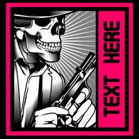 skull gangster with gun. Vector