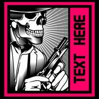 gangster crâne avec une arme à feu. Vecteur