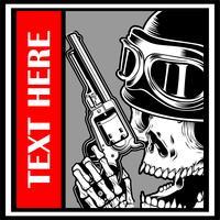 cráneo vistiendo gorra manipulando vector pistola - Vector