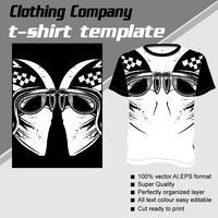 Modello di t-shirt, completamente modificabile con il vettore del casco teschio