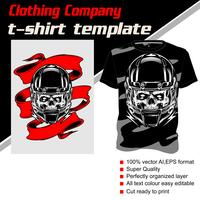 T-shirt template, fully editable with skull helmet bandana vector