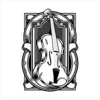 viola Musical Instrument String.vector hand drawing.Shirt designs, biker, disk jockey, gentleman, barber and many others.isolated and easy to edit. Vector Illustration - Vector
