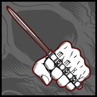 hand holding a knuckle knife hand drawing vector