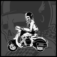esqueleto conduciendo un scooter vintage - Vector