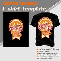 T-shirt template, fully editable with vintage rider vector