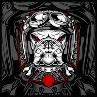 Dog, bulldog wearing a motorcycle, aero helmet. Hand drawn image for tattoo, t-shirt, emblem, badge, logo, patch. - Vector