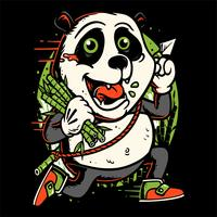 panda run holding bamboo hand drawing vector