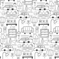 Ligne dessiné à la main Doodle Living Pattern. Illustration vectorielle