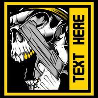 il cranio ruggisce tenendo un vettore di pistola