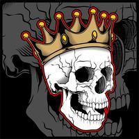 Vectorillustratieschedel die een koningskroon draagt